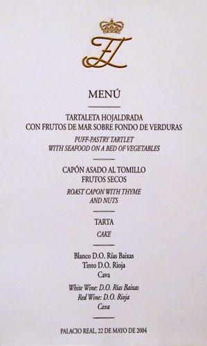 Menu Boda Pricipes de Asturias